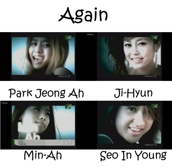 "The members of Jewelry in the ""Again"" MV"