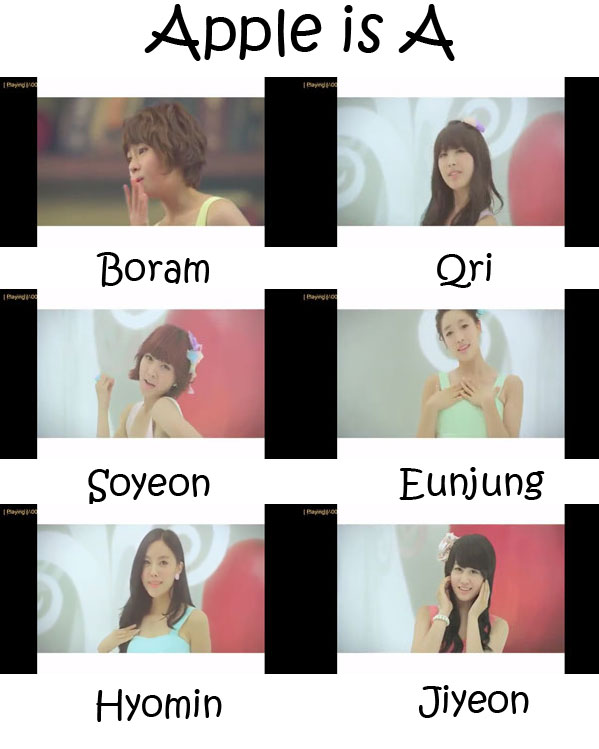"The members of T-Ara in the ""Apple Is A"" MV"