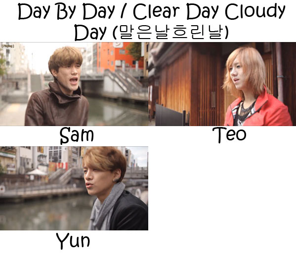 "The members of Lunafly in the ""Day By Day / Clear Day Cloudy Day"" MV"