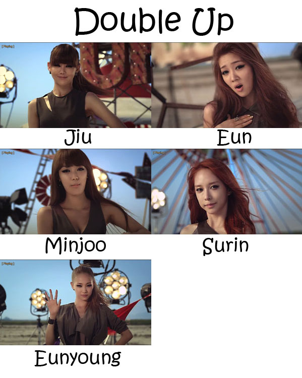 "The members of Two-X in the ""Double Up"" MV"