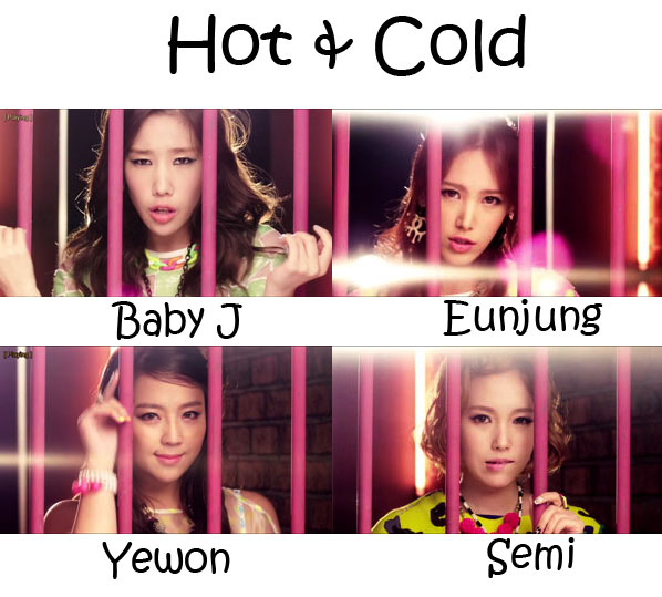 """The mebmers of Jewelry in the """"Hot & Cold"""" MV"""