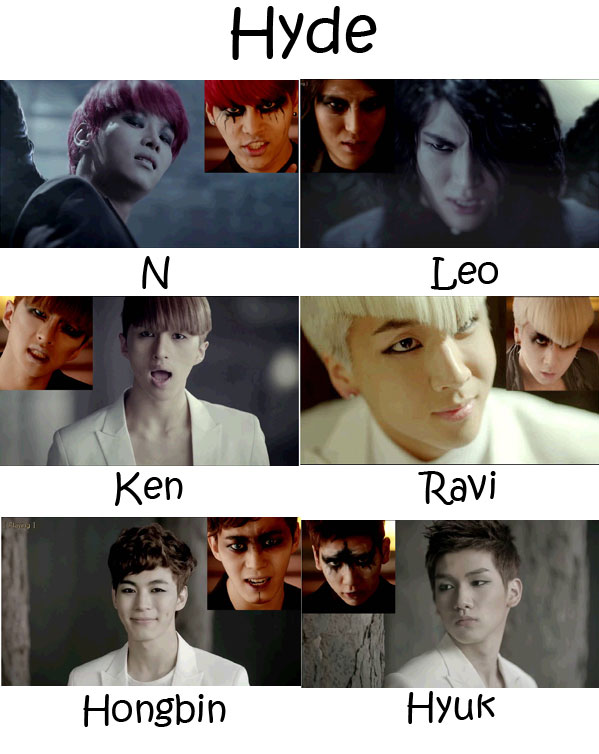 "The members of VIXX in the ""Hyde"" MV"
