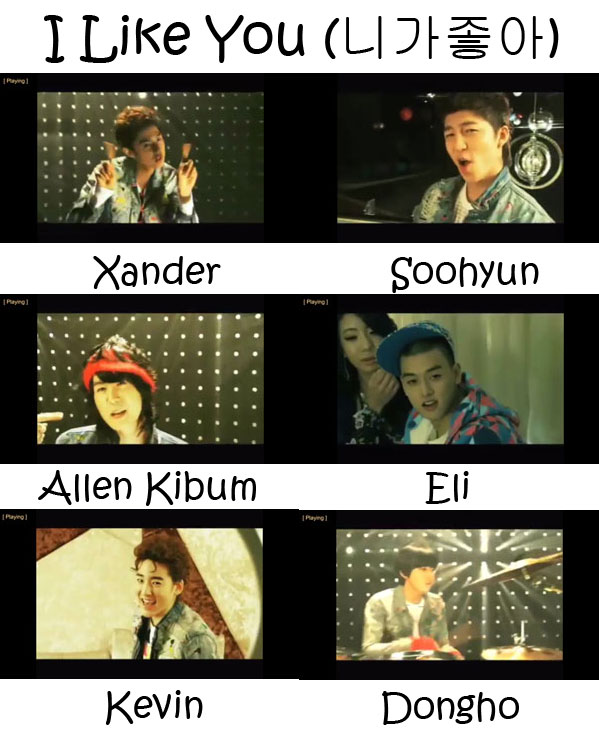 "The members of U-Kiss in the ""I Like You"" MV"