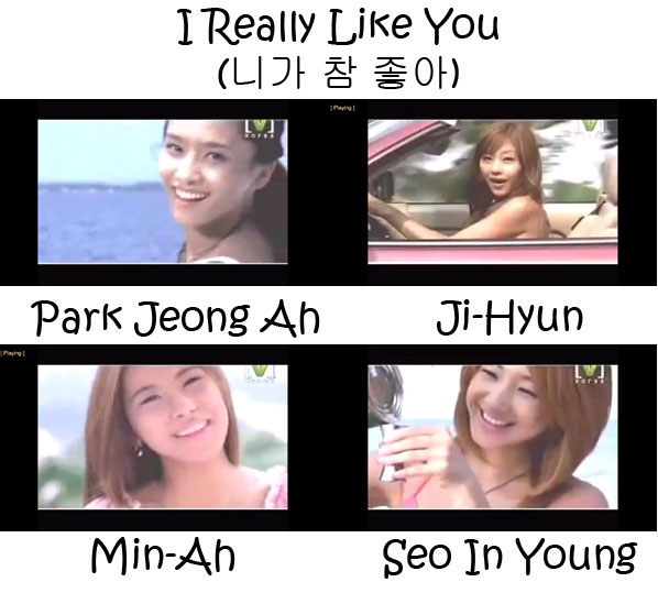 "The members of Jewelry in the ""I Really Like You"" MV"