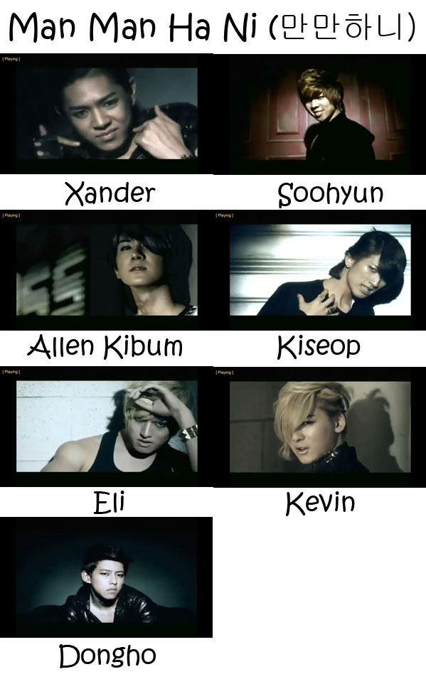 "The members of U-Kiss in the ""Man Man Ha Ni"" MV"