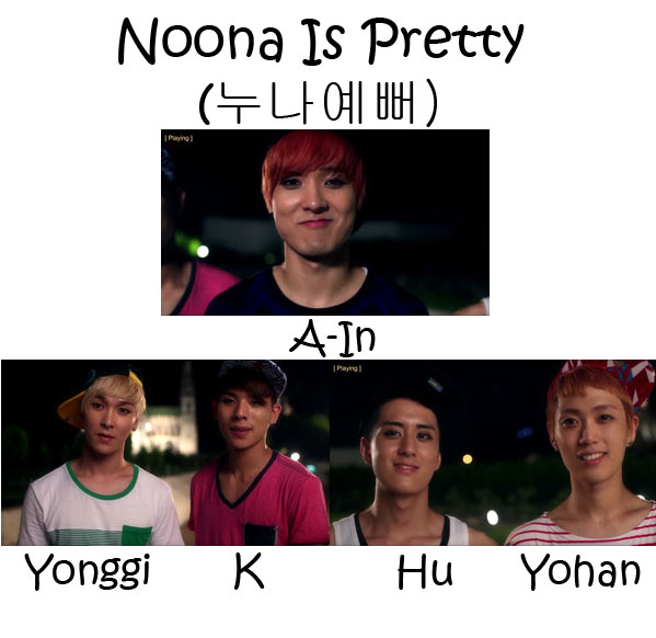 "The members of NOM in the ""Noona Is Pretty"" MV"