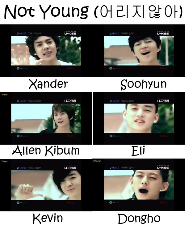 "The members of U-Kiss in the ""Not Young"" MV"