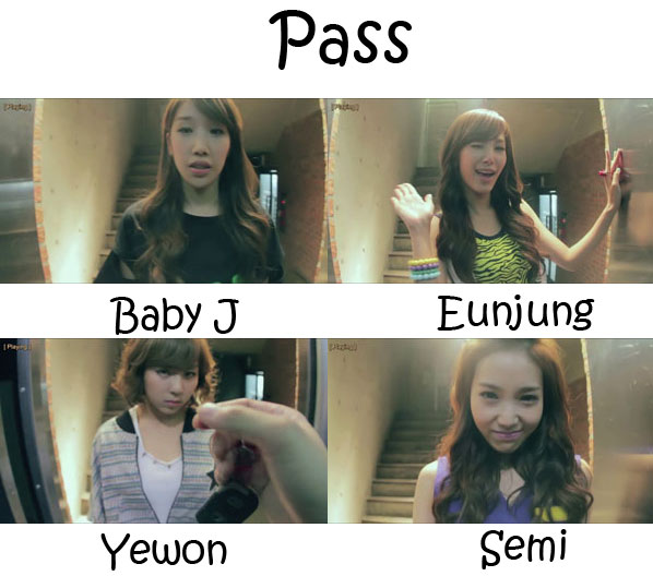 "The members of Jewelry in the ""Pass"" MV"