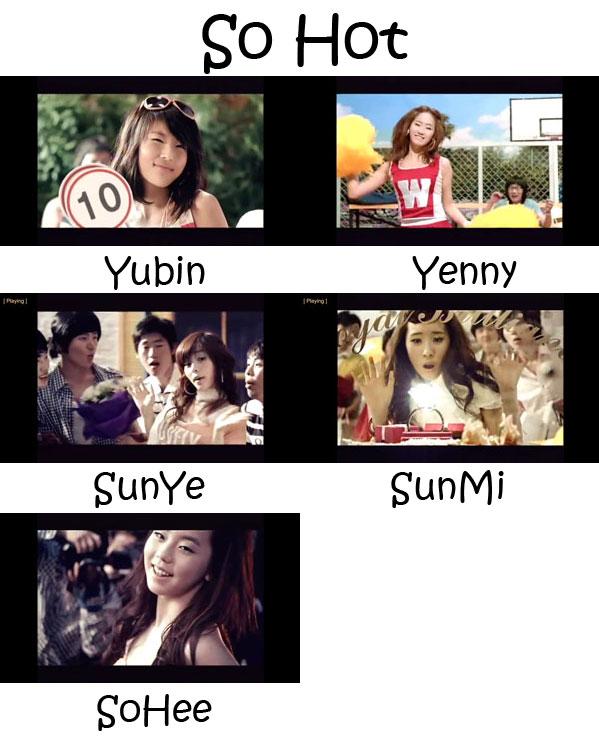 "The members of Wonder Girls in the ""So Hot"" MV"