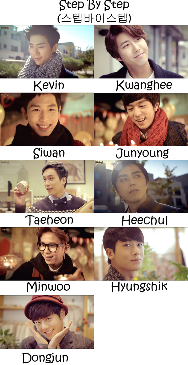 "The members of ZE:A in the ""Step By Step"" MV"