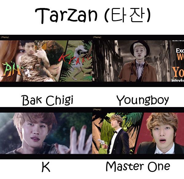 "The members of Wonder Boyz in the ""Tarzan"" MV"