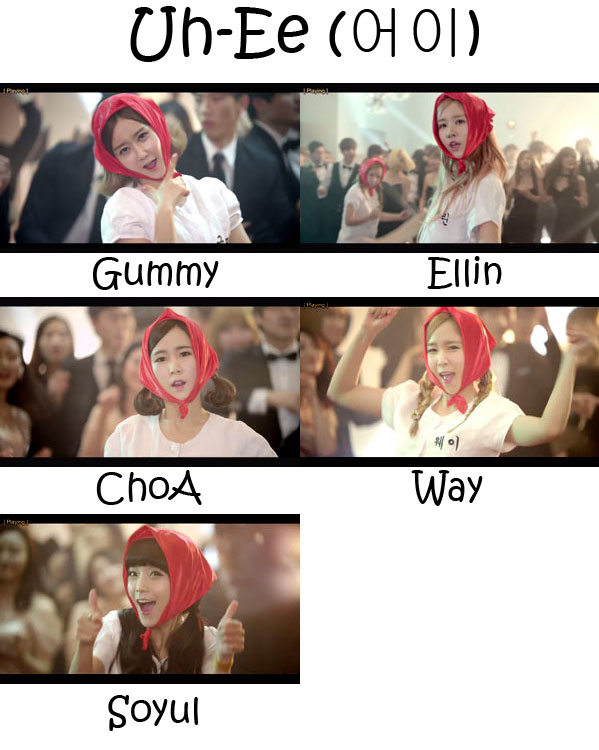 "the members of Crayon Pop in the ""Uh-Ee"" MV"