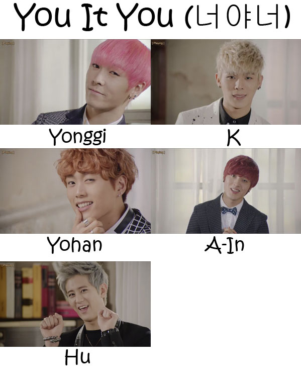 "The members of NOM (No Other Man) in the ""You It You"" MV"