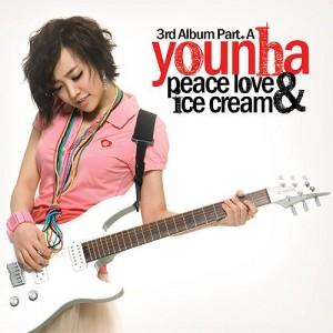"Album art for Younha's album ""Peace Love & Ice Cream"""