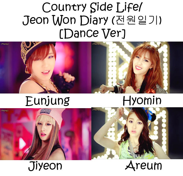 "The members of T-Ara's sub-unit T-Ara N$ in the ""Country Side Life/ Jeon Won Diary (전원일기) [Dance Ver]"" MV"