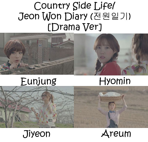 "The members of T-Ara's sub-unit T-Ara N$ in the ""Country Side Life/ Jeon Won Diary (전원일기) [Drama Ver]"" MV"