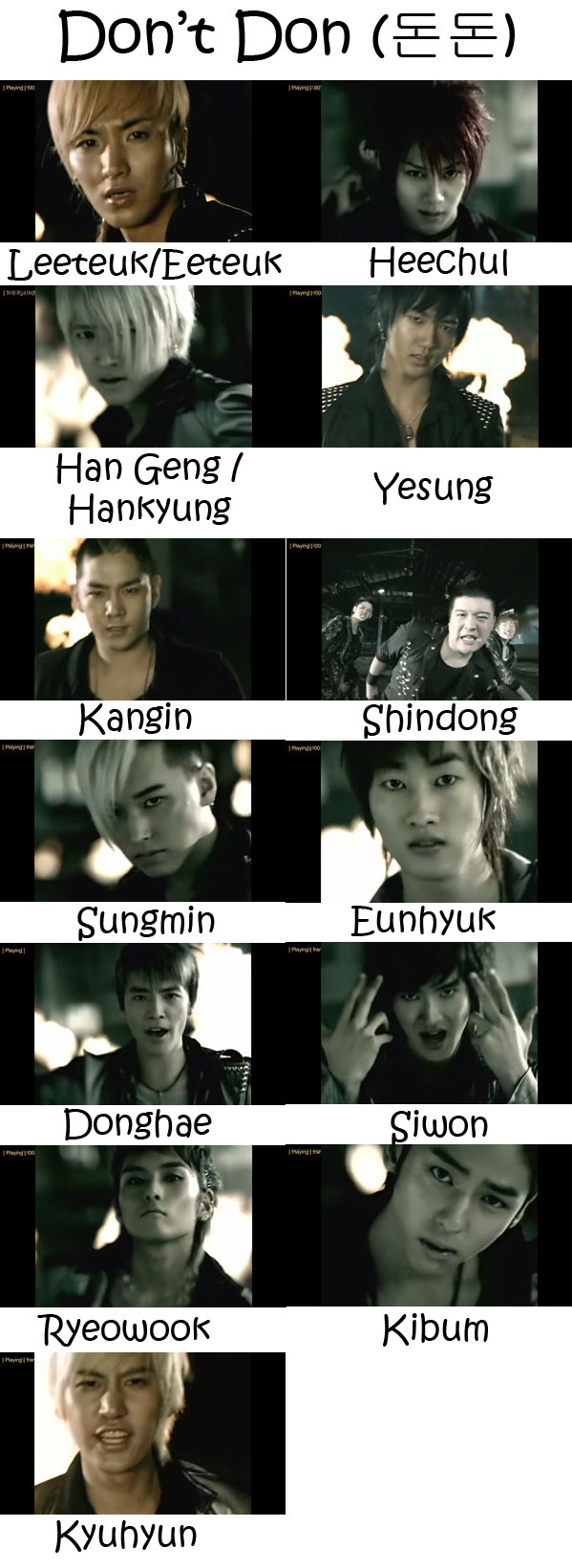 "The members of Super Junior in the ""Don't Don"" MV"