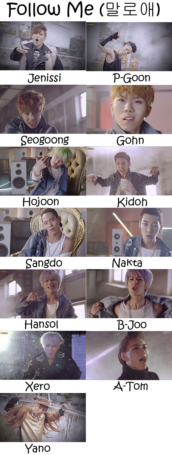 "The members of Topp Dogg in the ""Follow Me"" MV"