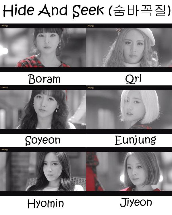 """The members of T-Ara in the """"Hide And Seek"""" MV"""