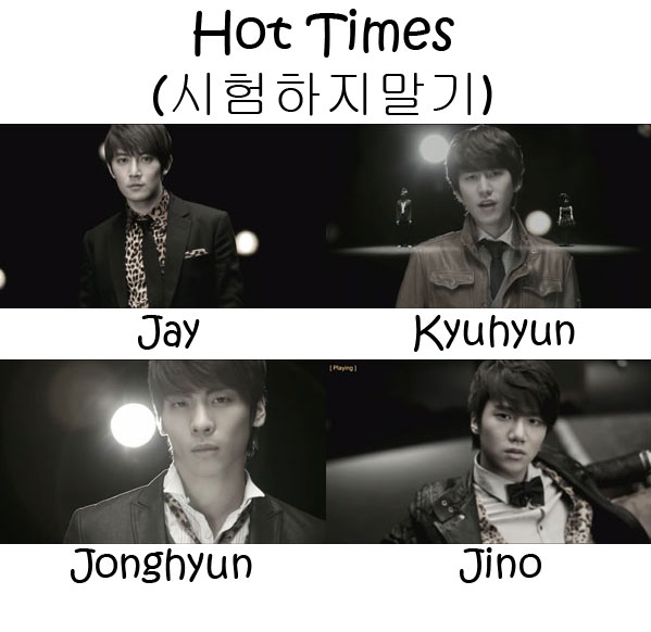 "The members of S.M. The Ballad in the ""Hot Times"" MV"
