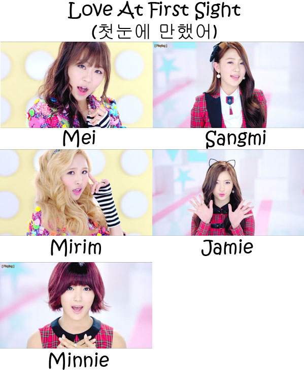 "The members of TINT in the ""Love At First Sight"" MV"