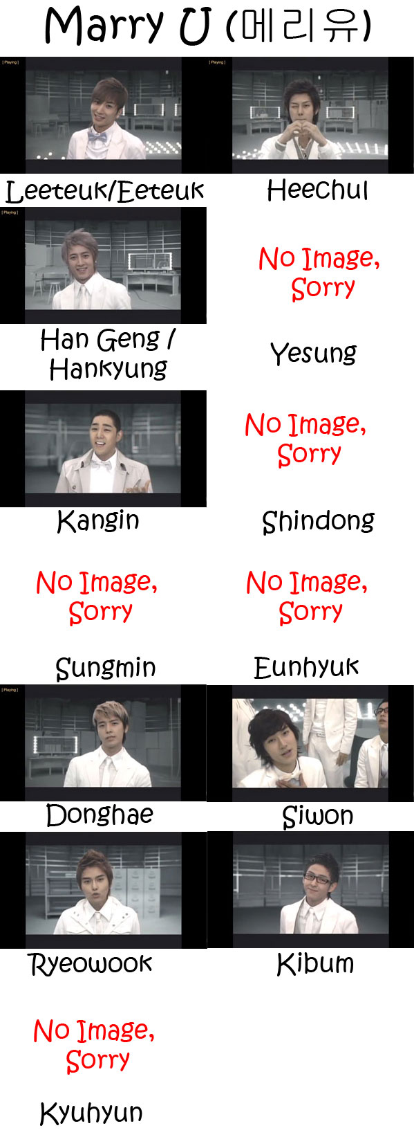 "The members of Super Junior in the ""Marry U"" MV"