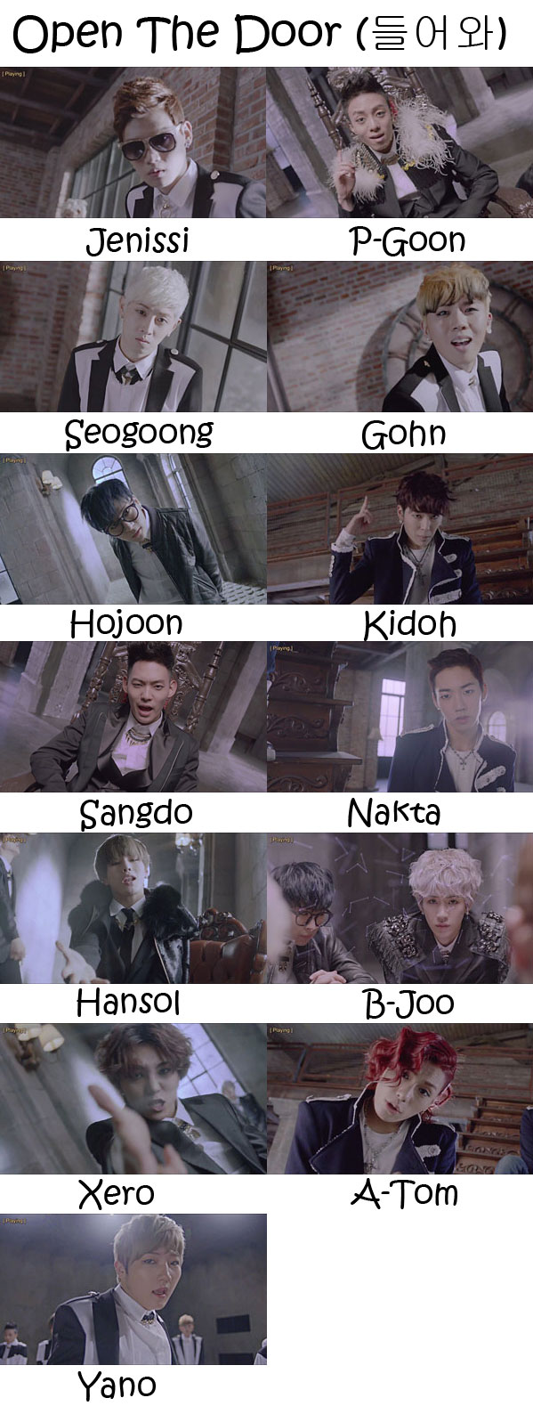 "The members of Topp Dogg in the ""Open The Door"" MV"