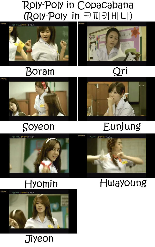 "The members of T-Ara in the ""Roly-Poly in Copacabana"" MV"