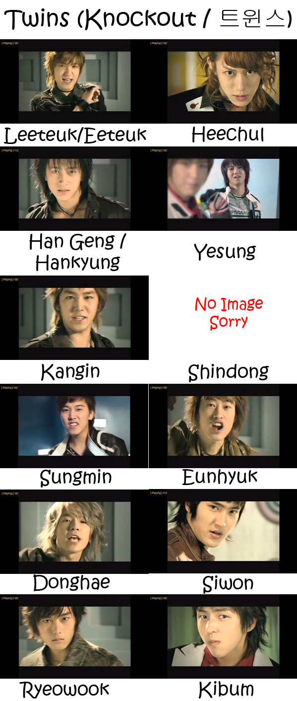 "The members of Super Junior in the ""Twins/Knockout"" MV"