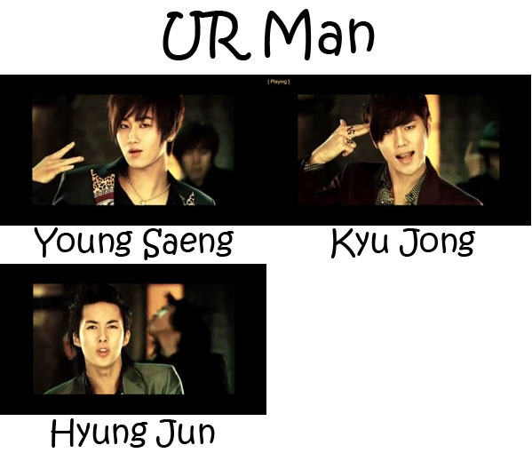"The members of SS501's project group in the ""UR Man"" MV"