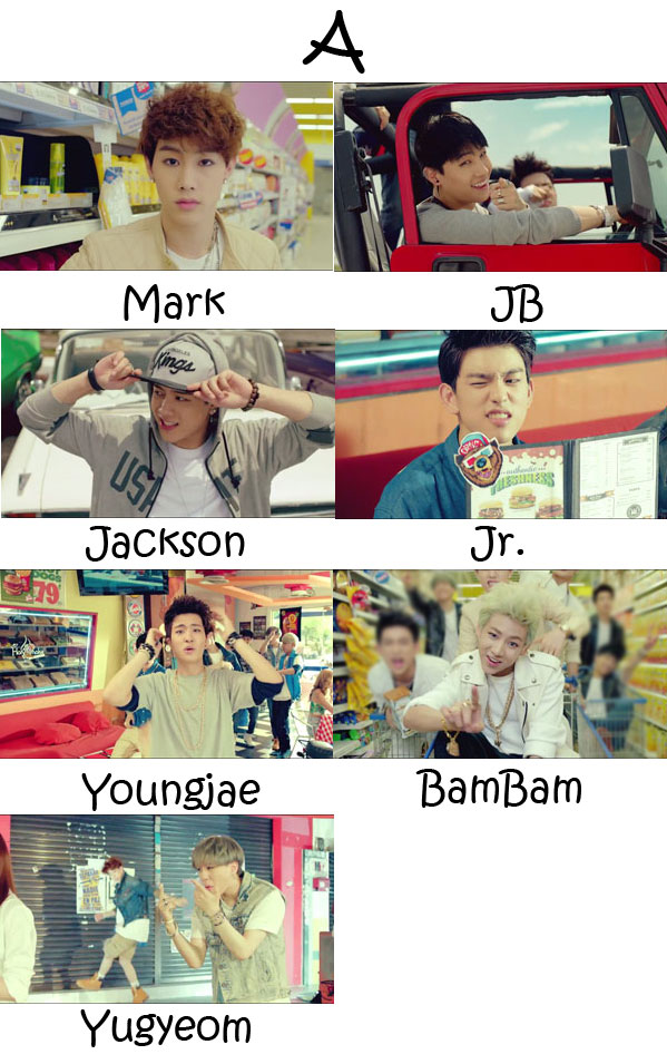 "The members of GOT7 in the ""A"" MV"
