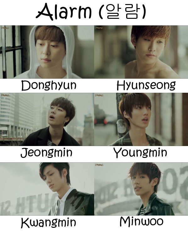 "The members of Boyfriend in the ""Alarm"" MV"