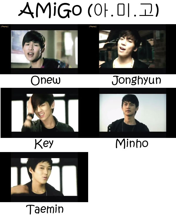 "The members of SHINee in the ""AMiGo"" MV"