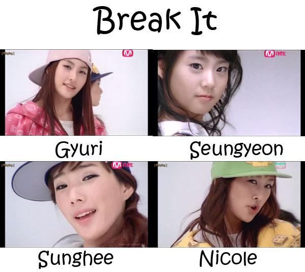 "The members of Kara in the ""Break It"" MV"
