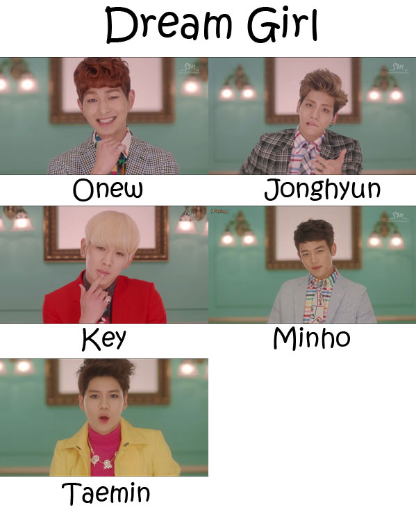 "The members of SHINee in the ""Dream Girl"" MV"