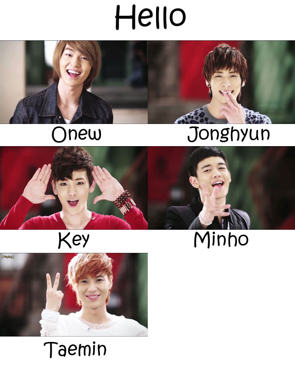 "The members of SHINee in the ""Hello"" MV"