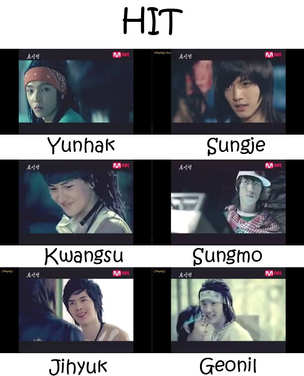 "The members of Supernova (Cho Shin Sung) in the ""Hit"" MV"