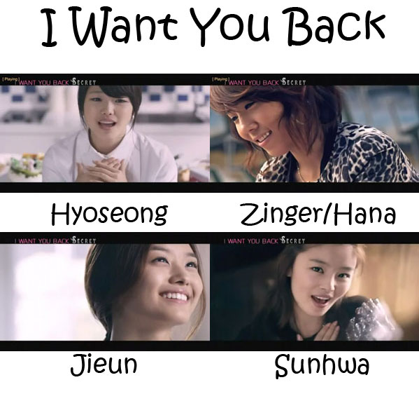 "The members of Secret in the ""I Want You Back"" MV"