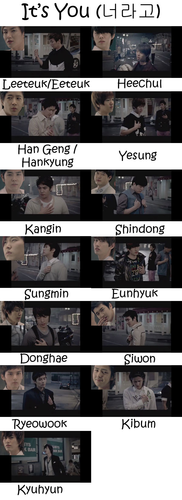 "The members of Super Junior in the ""It's You"" MV"