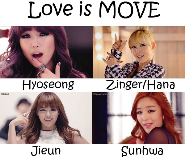 "The members of Secret in the ""Love Is MOVE"" MV"