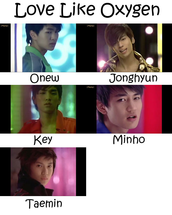 "The members of SHINee in the ""Love Like Oxygen"" MV"