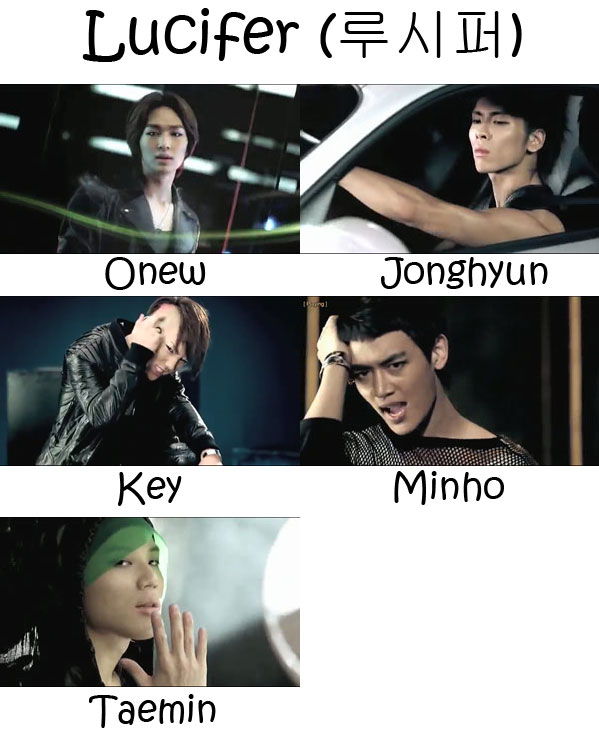 "The members of SHINee in the ""Lucifer"" MV"