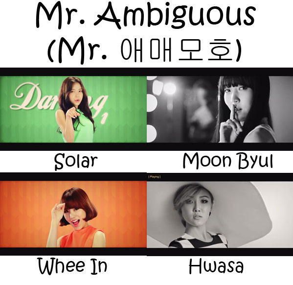 "The members of Mamamoo in the ""Mr. Ambiguous"" MV"
