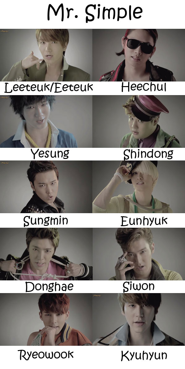 "The members of Super Junior in the ""Mr. Simple"" MV"