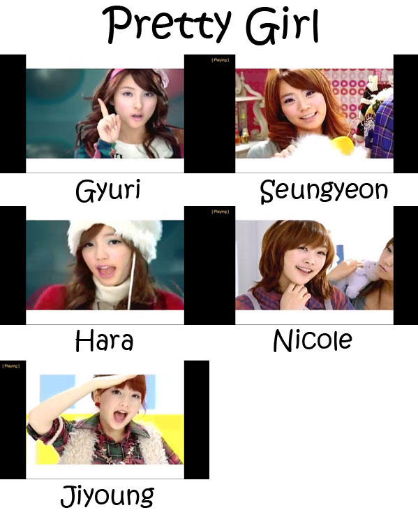 "The members of KARA in the ""Pretty Girl"" MV"