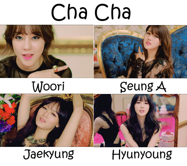 "The members of Rainbow's sub-unit Rainbow BLAXX in the ""Cha Cha"" MV"