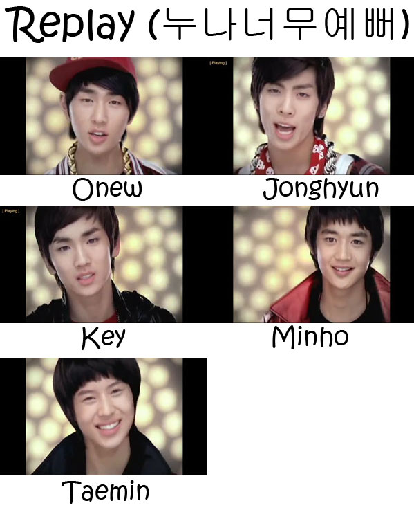 "The members of SHINee in the ""Replay"" MV"
