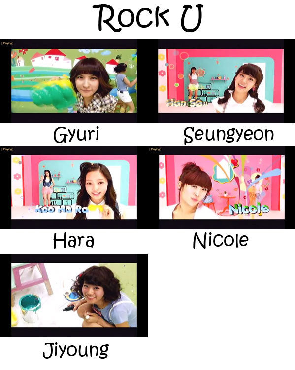 "The members of Kara in the ""Rock U"" MV"