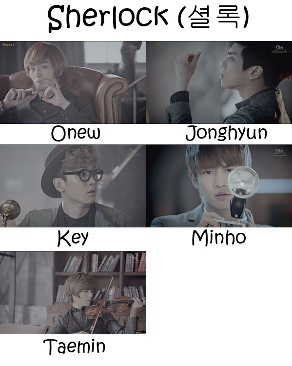 "The members of SHINee in the ""Sherlock"" MV"