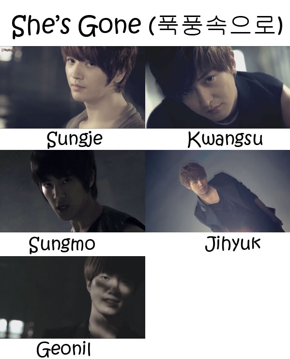 "The members of Supernova (Cho Shin Sung) in the ""She's Gone"" MV"